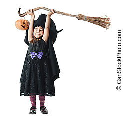 witch broom raised over his head with a pumpkin - Little...