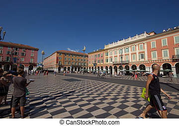 Place massena - The main square in Nice, Cote d'Azur,...