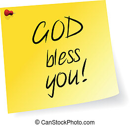 God Bless You - Yellow Sticky Note With God Bless You...