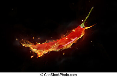 Hot chilli pepper - Burning red chilli pepper isolated on...