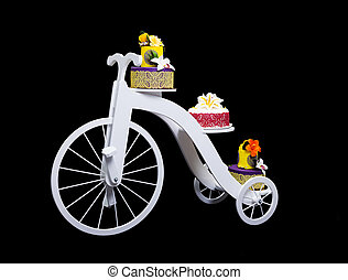 Unique bicycle cake stand with three cakes - White wooden...