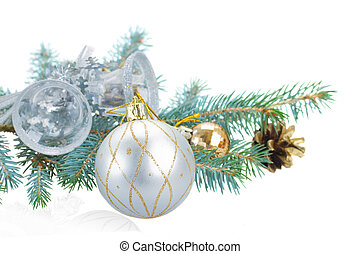 fir tree branch and silver  decorations