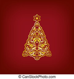 Stylized fir on a green background