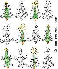Doodle Christmas trees - An illustration of many doodle...