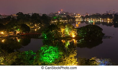 Time Lapse of  Hoan Kiem lake - Hanoi, Vietnam
