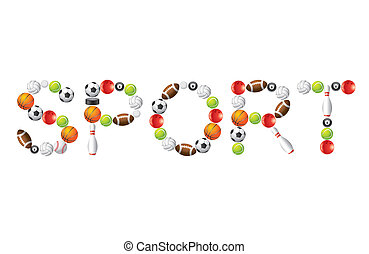 Sport word from balls vector - Sport word from different...