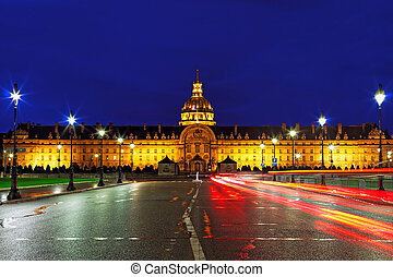 Les Invalides at night - Paris, France - Les Invalides at...