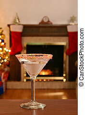 candy cane martini on wood table