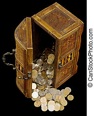 Ancient chest with coins - Ancient chest with Russian coins...