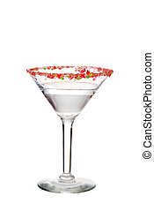 isolated clear candy cane martini