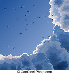 Flock, blue sky and clouds - Vector illustration: flock of...