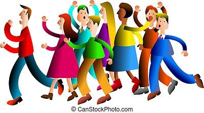 troubled crowd - A crowd of diverse people throwing their...