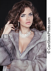Glamour. Fashion sexy girl Model with long wavy hair wearing in Luxury Mink Fur Coat isolated black background.