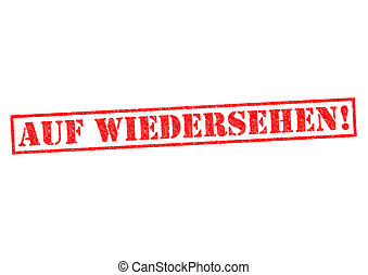 AUF WIEDERSEHEN Rubber Stamp over a white background