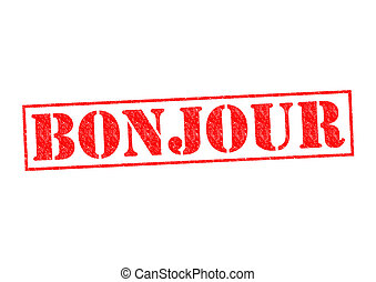 BONJOUR Rubber Stamp over a white background