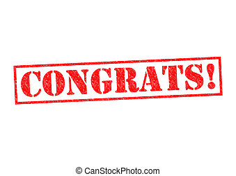 CONGRATS! Rubber Stamp over a white background.