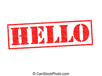 HELLO Rubber Stamp over a white background.