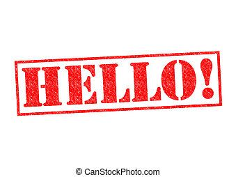 HELLO! Rubber Stamp over a white background.