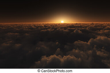 sunset above clouds - A photography of a beautiful golden...