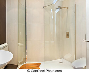 Shower cabin - Modern bathroom inteior with glass shower...