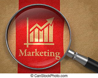 Marketing Concept - Marketing Concept: Magnifying Glass with...