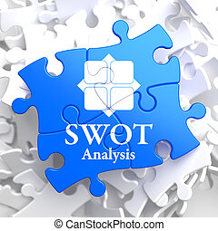SWOT Analisis on Blue Puzzle Pieces. - SWOT Analisis Written...