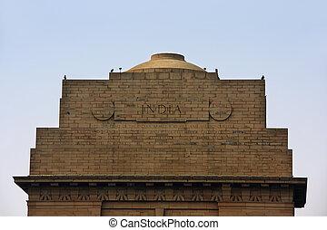 India Gate, New Delhi - Close-up of India Gate, New Delhi,...