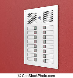Apartments intercom on red wall