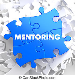 Puzzle Pieces: Mentoring. - Mentoring Writing on Blue Puzzle...