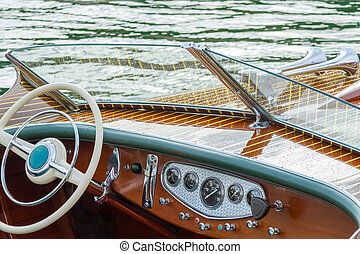 Vintage wooden boat provide leisure time