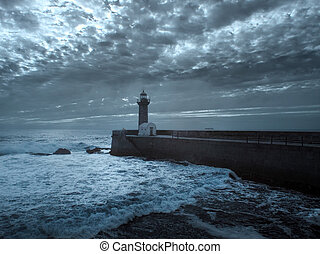 Moody seascape - Moody blue seascape at dusk seeing pier and...