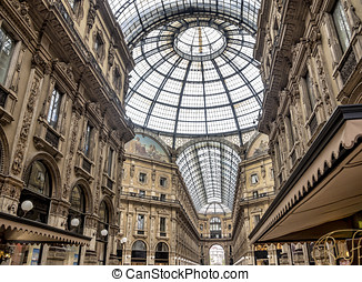 Shopping art gallery in Milan. Vittorio Emanuele II, Italy -...