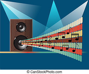 Music disco background - Musical theme with speakers and...