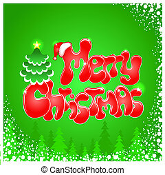 Red Christmas text on green background