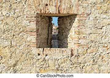 Stone Wall Background with Window
