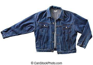 Denim jacket - Old mens blue denim jacket, isolated on white...