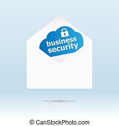 business security on blue cloud, paper mail envelope