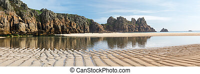 Pedn Vounder Beach Cornwall England - Panoramic shot of Pedn...