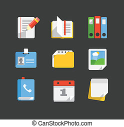 Modern web icons collection. Trendy paper style