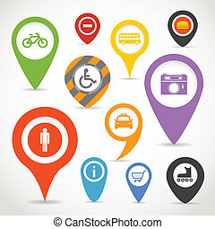 Navigation elements with transport icons