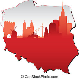 Poland map in flag colours and symbols of business and...