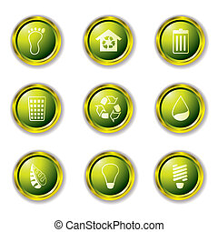 eco buttons gold - Environmental Buttons in green with metal...