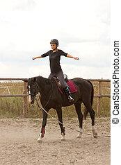 niña, equitación, trenes