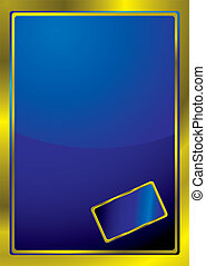 gold bevel window - Blue background with a golden border and...
