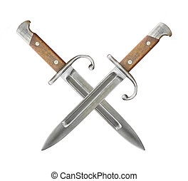 Two Knifes Shield - Isolated non domestic knifes forming a...