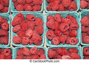 Raspberries in farmers market, Seattle, Washington