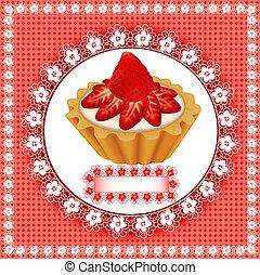 fundo, fruity, sobremesa, bolo, morangos