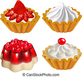 set of fruit desserts with jelly and a cake with berries -...