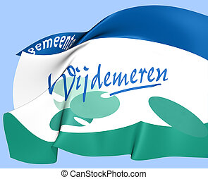 Flag of Wijdemeren, Netherlands. Close Up.