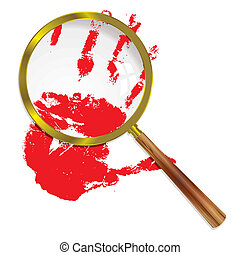 magnify blood - Close up of a bloody hand under a magnifying...